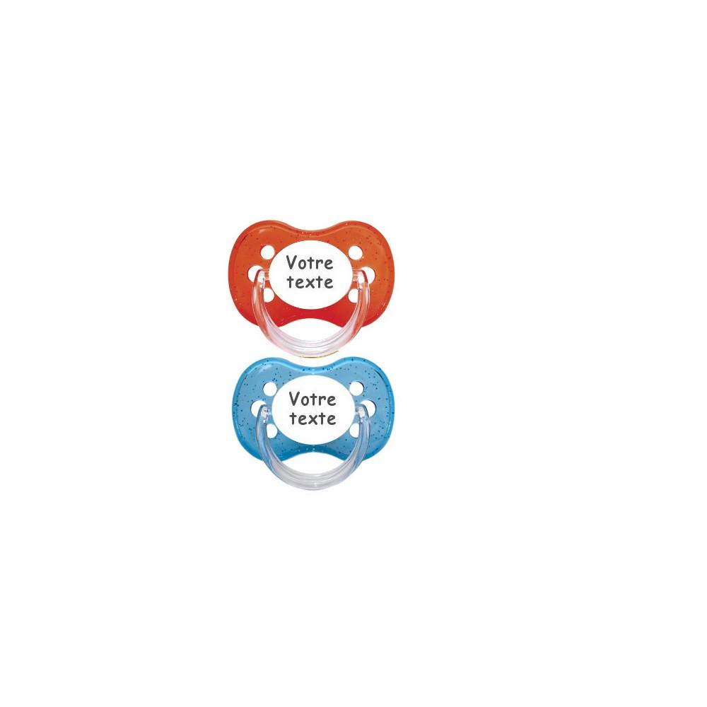 Tétines personnalisées Cerise paillettes (bleu, rouge)
