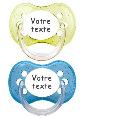 Tétines personnalisées Cerise paillettes (bleu, vert)