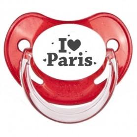 Tétine bébé I love Paris coeurs