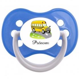 """Tétine personnalisée """"Prénom Bus jaune"""""""