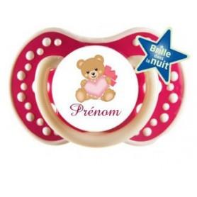 Tétine personnalisée ours coeur et prénom