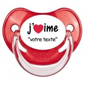 """Tétine personnalisée """"J'aime"""""""