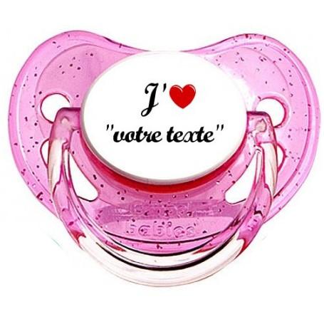 "Tétine personnalisée ""J'aime coeur"""