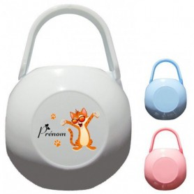 Boîte à tétine personnalisée Chat Prénom