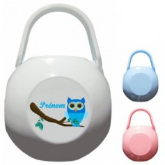 Boîte à tétine personnalisée Hibou bleu Prénom
