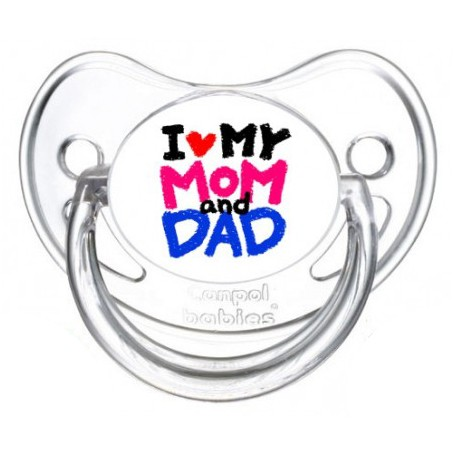 Tétine personnalisée I love mom and dad