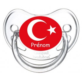 Tétine personnalisée drapeau Turquie et prénom