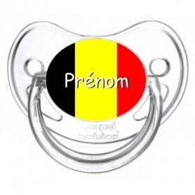 Tétine personnalisée drapeau Belgique et prénom