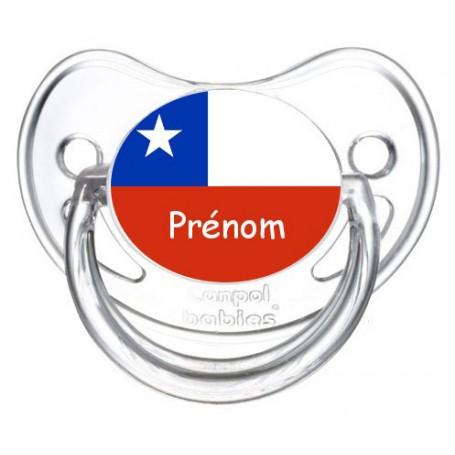 Tétine personnalisée drapeau Chili et prénom