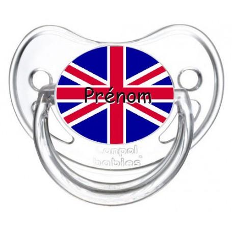 Tétine personnalisée drapeau Angleterre et prénom