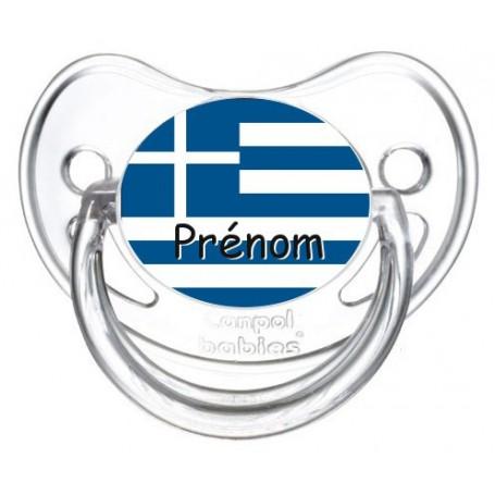Tétine personnalisée drapeau Grèce et prénom