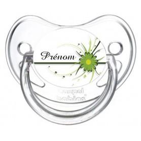 Tétine personnalisée fleur verte et prénom