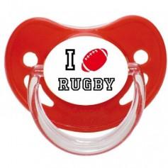 "Tétine personnalisée ""I love rugby"""