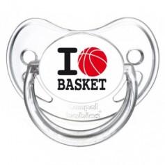 """Tétine personnalisée """"I love basket"""""""