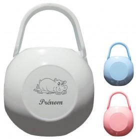 Boite à tétine personnalisée hippopotame prenom