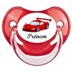 Tétine bébé personnalisée voiture de course rouge