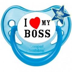 """Tétine bébé """"I love my boss"""""""