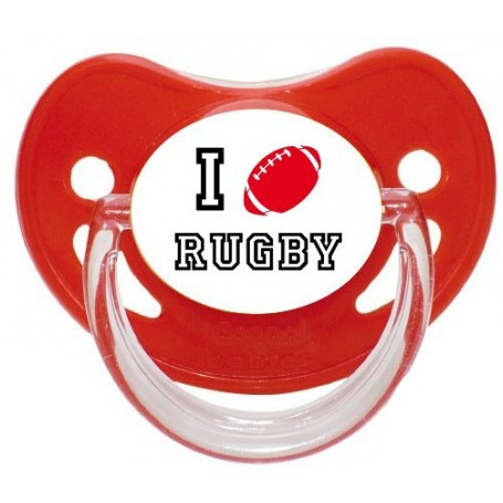 "Tétine personnalisée ""I love rugby"""