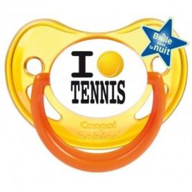 """Tétine personnalisée """"I love tennis"""""""