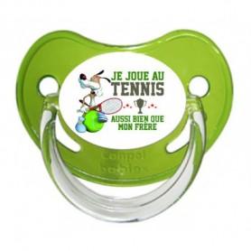 """Tétine personnalisée """"Je joue au tennis aussi bien que mon frère"""""""