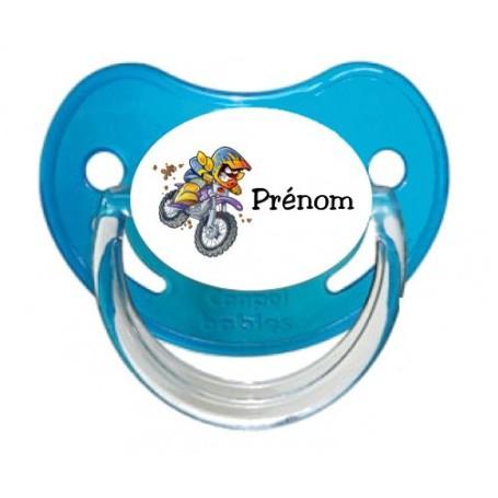 Tétine personnalisée Moto et Prénom
