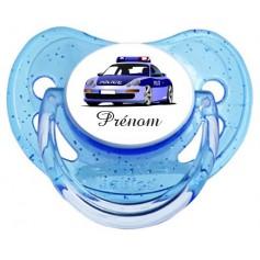 """Tétine personnalisée """"voiture de police 2"""" et prénom"""