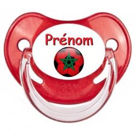 Tétine personnalisée Ballon foot Maroc et prénom