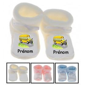 Chaussons bébé Bus jaune prénom personnalisés