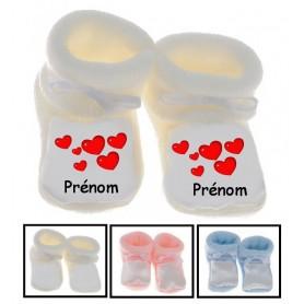 Chaussons bébé Coeurs prénom personnalisés