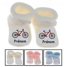 Chaussons bébé Vélo prénom personnalisés