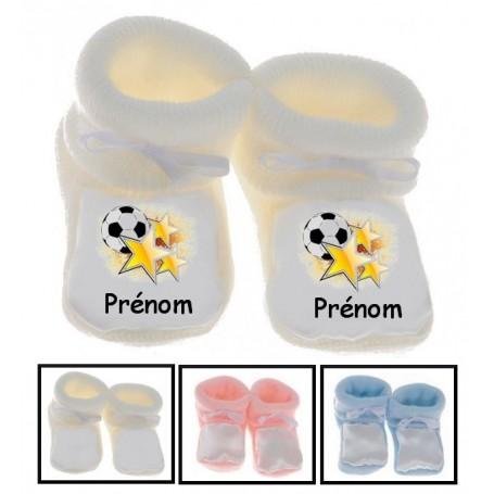 Chaussons bébé Foot etoile prénom personnalisés