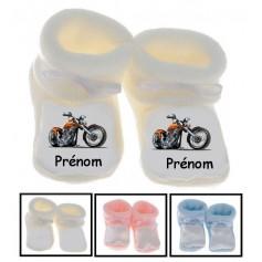Chaussons bébé Moto prénom personnalisés