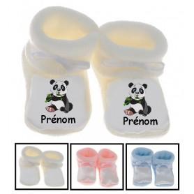 Chaussons bébé Panda assis prénom personnalisés