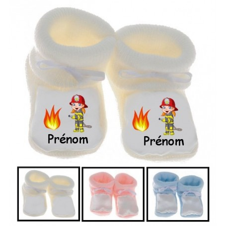 Chaussons bébé Pompier flamme prénom personnalisés