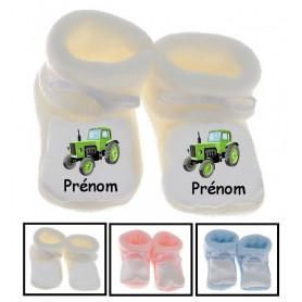 Chaussons bébé Tracteur prénom personnalisés