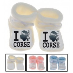 Chaussons bébé I love Corse