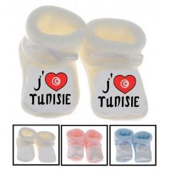 Chaussons bébé J'aime Tunisie
