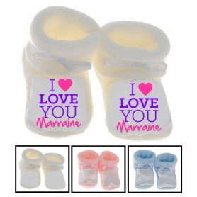 Chaussons bébé I love you Marraine