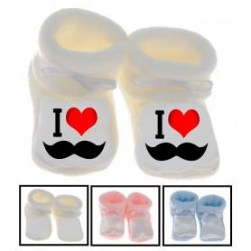 Chaussons bébé I love Moustache