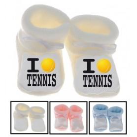Chaussons bébé I love tennis