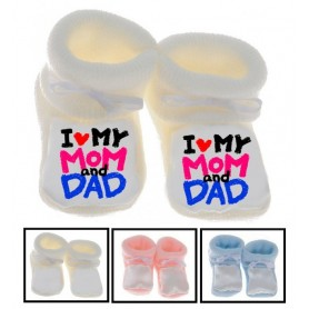 Chaussons bébé I love Mom and Dad