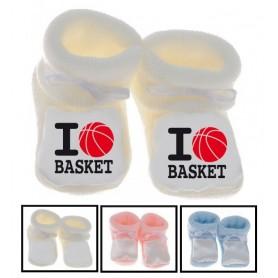 Chaussons bébé I love basket