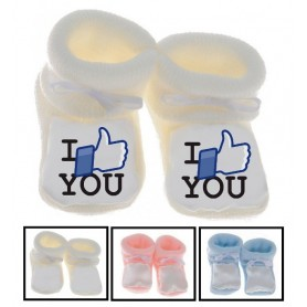 Chaussons bébé I love you facebook