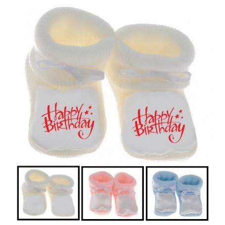 Chaussons bébé Happy birthday