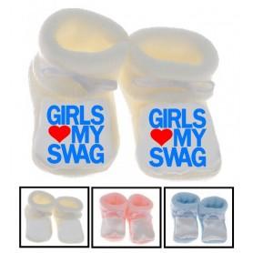 Chaussons bébé Girls love my swag