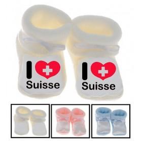 Chaussons bébé I love Suisse