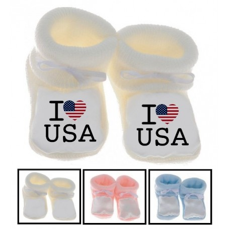 Chaussons bébé I love USA