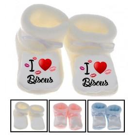 Chaussons bébé I love bisous