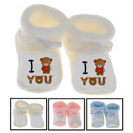 Chaussons bébé I love you ours