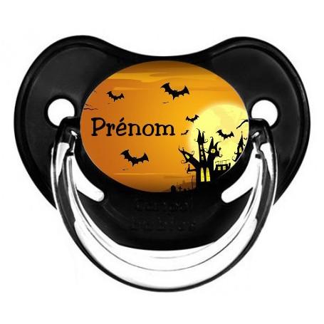 """Tétine personnalisée """"halloween"""" et prénom"""